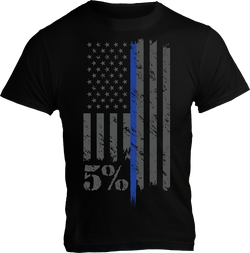 Police, Black T-Shirt with Gray and Blue Graphic
