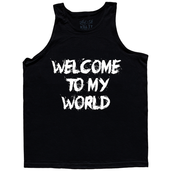 Throwback 5% Cash Logo with Welcome to My World, Black Tank Top