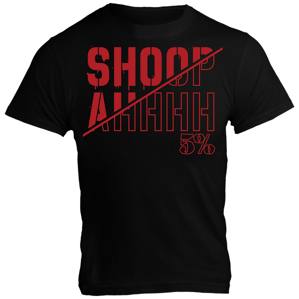 SHOOPAH, Black T-Shirt with Red Lettering (intl)