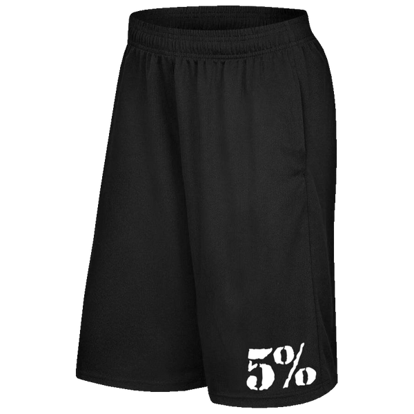 5% Black Shorts with White Lettering