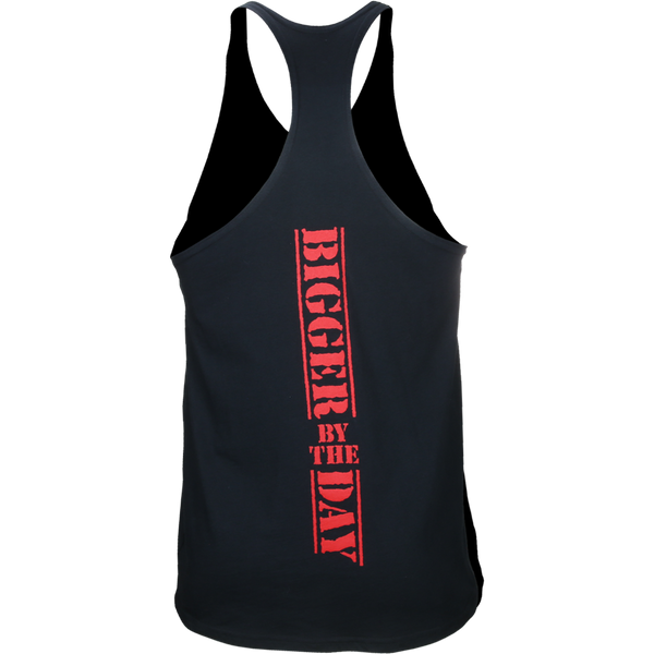5%, Black Stringer Tank with Red Lettering