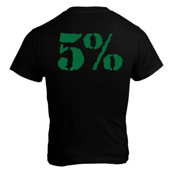 Love It Kill It - 5%, Black T-Shirt with Green Lettering