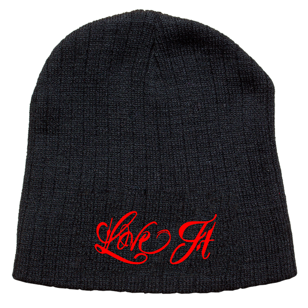 Love It Kill It, Black Beanie with Red Lettering