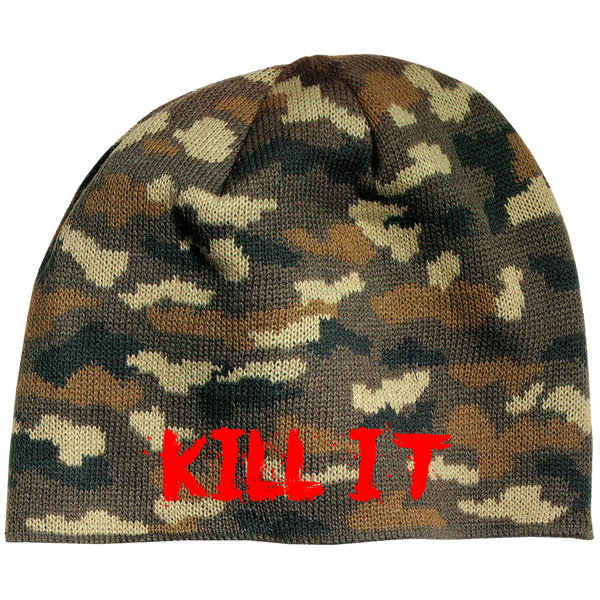 Love It Kill It, Camo Beanie with Red Lettering