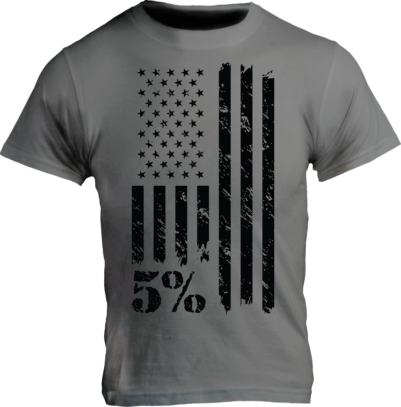 American Gray T-Shirt with Black Graphic