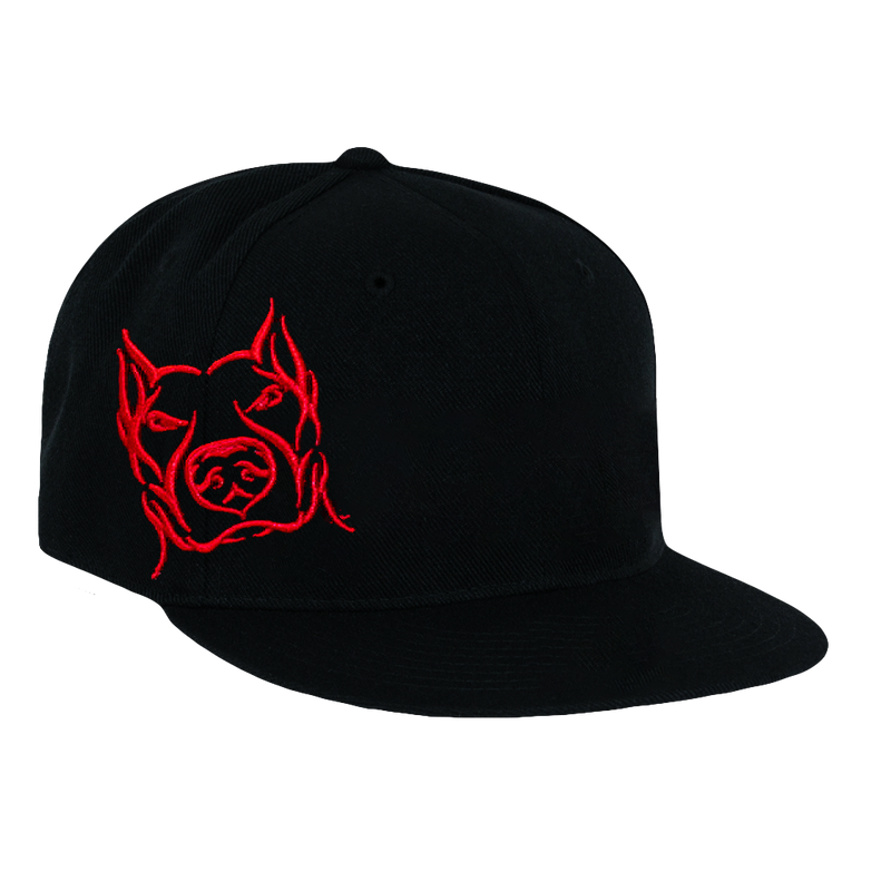 Pitbull, Black Hat with Red Lettering