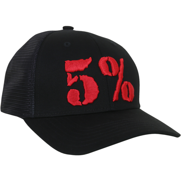 5% Trucker Hat, Black Hat with Red Lettering