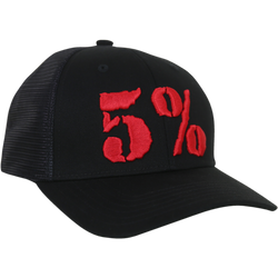 5% Trucker Hat, Black Hat with Red Lettering (intl)