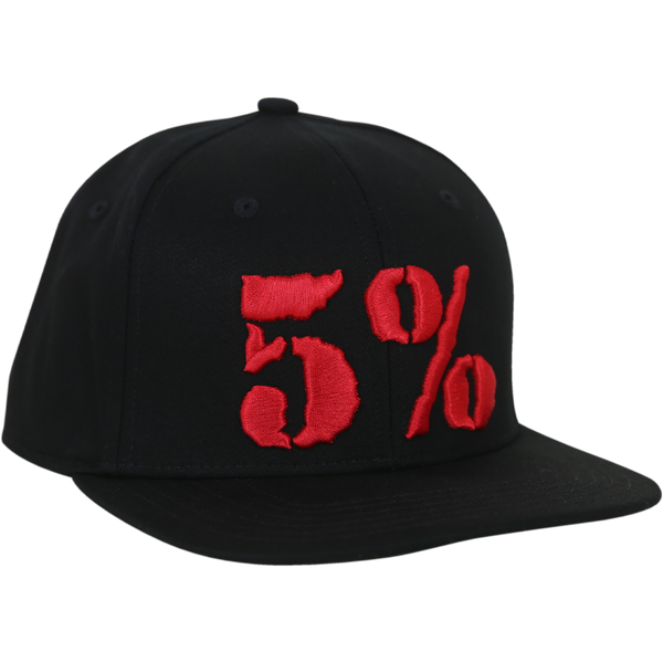 5% Flat Bill Hat, Black Hat with Red Lettering (intl)