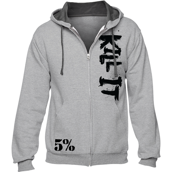Kill It, Gray Zip-Up Hoodie with Black Lettering