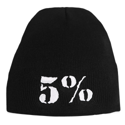 5% Black Beanie with White Lettering (intl)