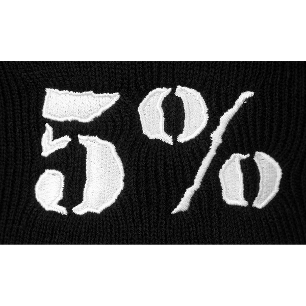 5% Black Beanie with White Lettering