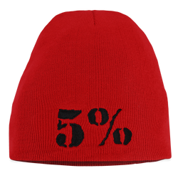 5% Red Beanie with Black Lettering