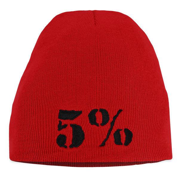 5% Red Beanie with Black Lettering (intl)