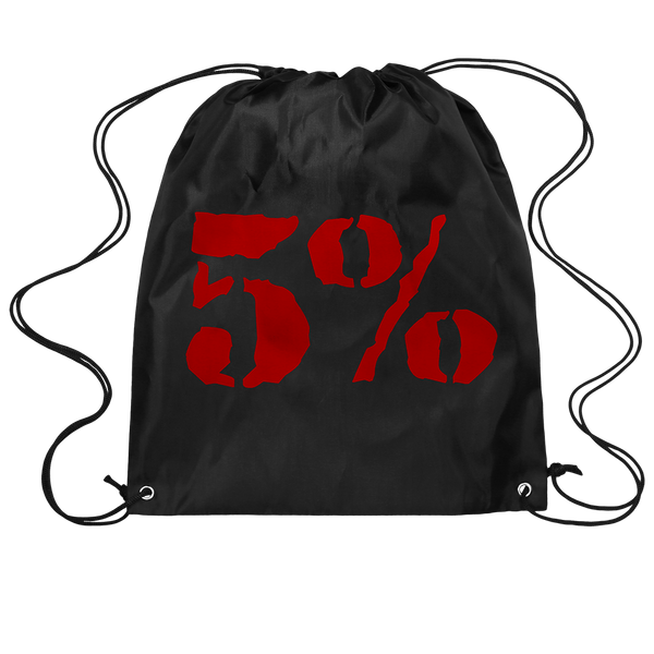 5% Logo, Black Drawstring Bag