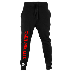 5%ER FOR LIFE, Black Joggers with Red Lettering
