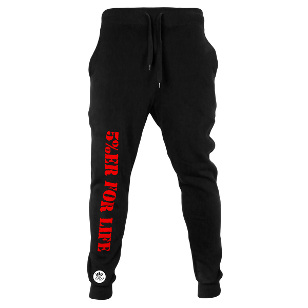 5%ER FOR LIFE, Black Joggers with Red Lettering (intl)