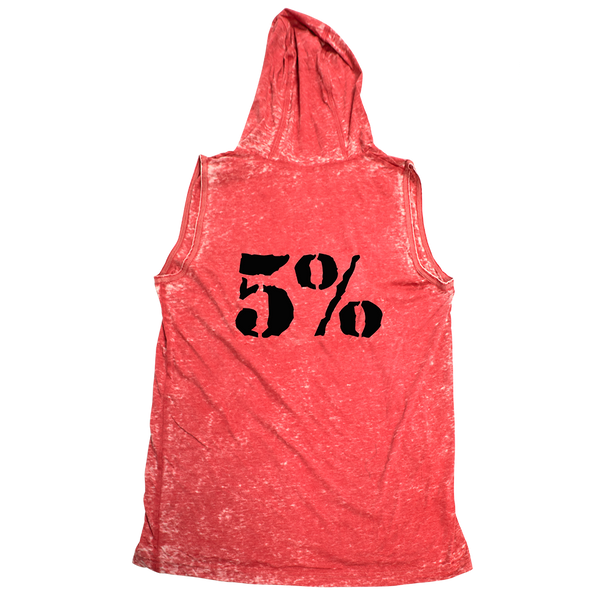 5%, Red Acid Wash Muscle Hoodie with Black Lettering