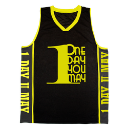 1DAYYOUMAY, Black Basketball Jersey with Yellow Lettering
