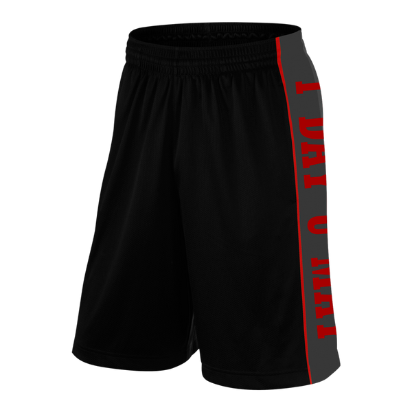 1DAYUMAY, Black Shorts with Red Lettering