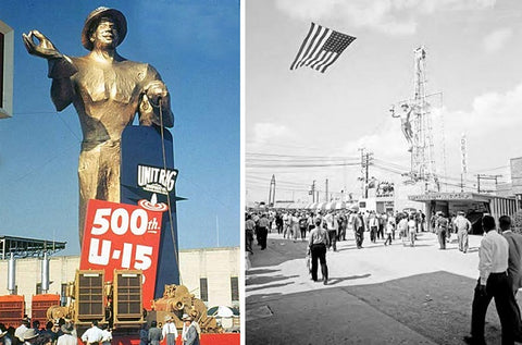 "(left, Tulsa Driller in 1953, right, ""the roustabout"" in 1959)"