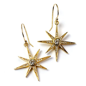 Gold North Star Earrings