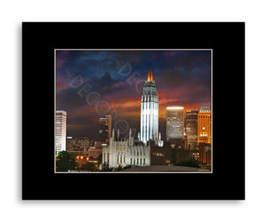 Matted Print 11x14 Downtown Tulsa Sunset