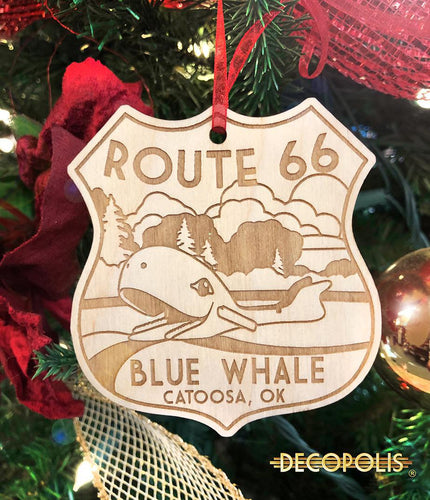 WOBW Wood Ornament Blue Whale