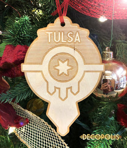 WOTFD Wood Ornament Tulsa Flag Drop