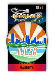 Large Magnet Tulsa Skyline Orange