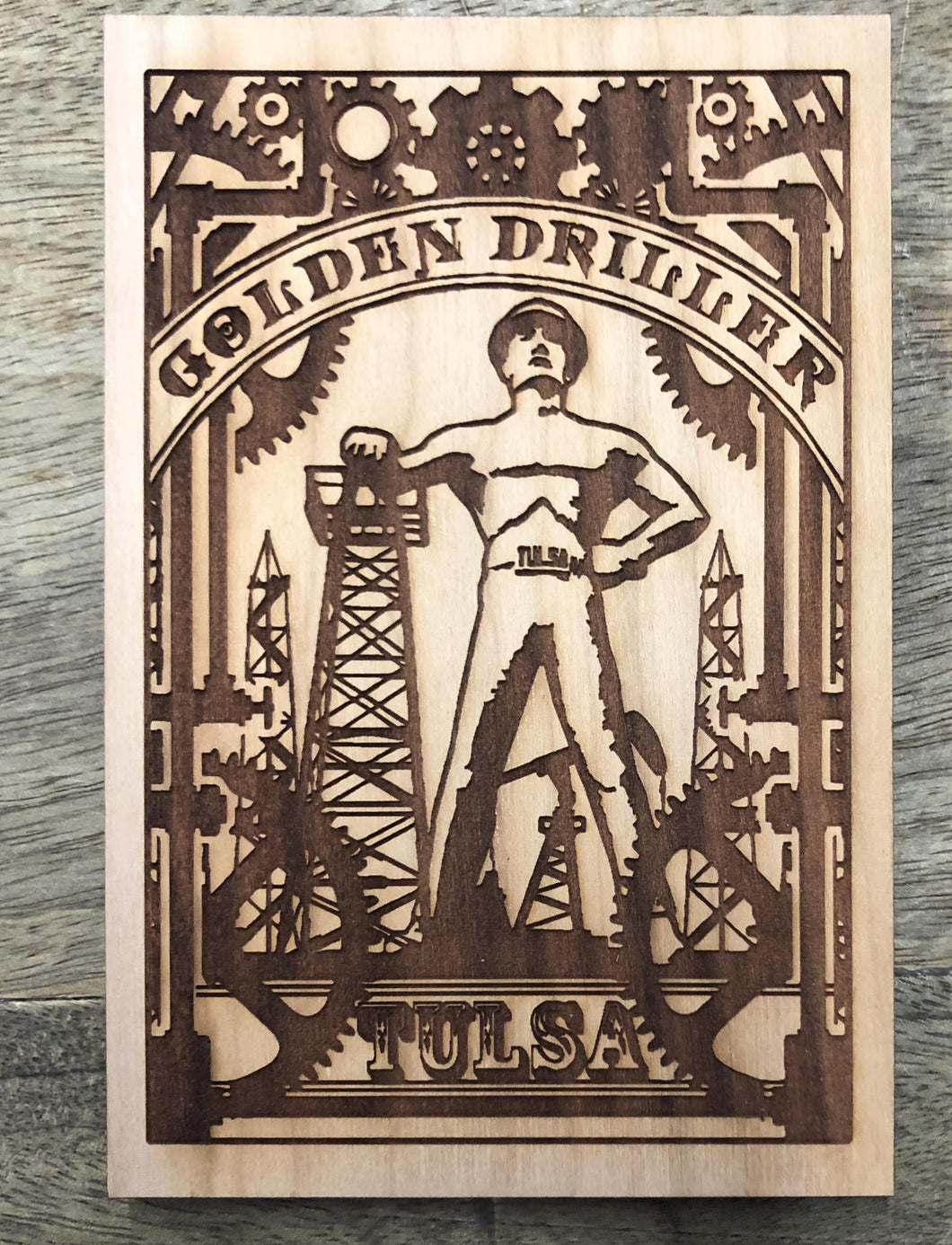 Golden Driller Wood Post Card