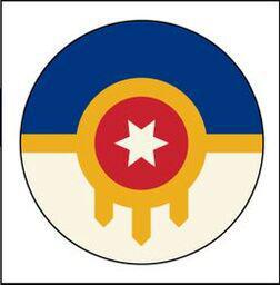 Button Pin Large Tulsa Flag Plain