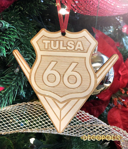 WOT66 Wood Ornament Tulsa 66