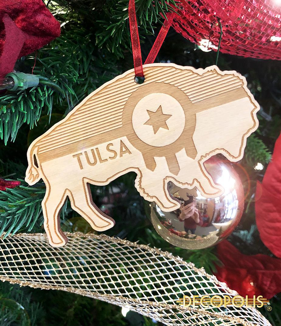 Wood Ornament, Tulsa Flag Bison  WOTFB