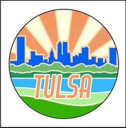 "Button Pin Large ""Tulsa Skyline Orange"""