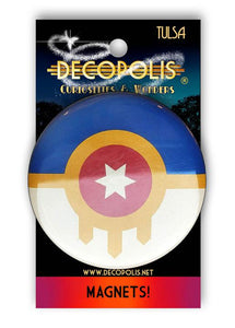 Decopolis Button Pin Small Tulsa Flag