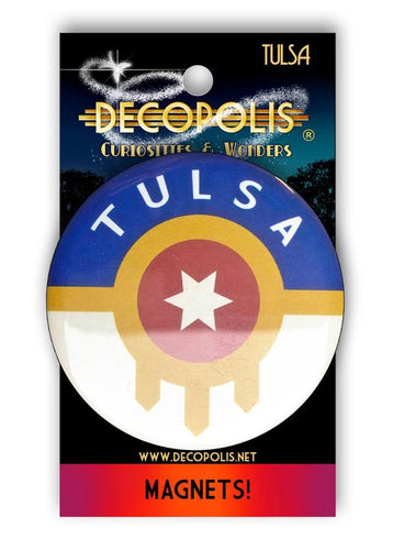 Decopolis Button Pin Small Tulsa Flag w/letters