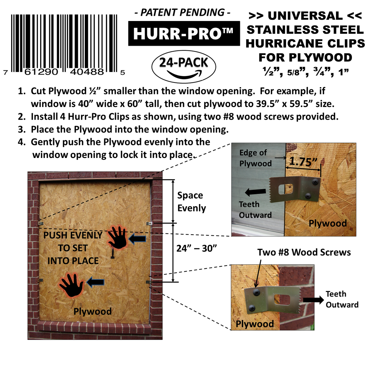 Hurricane Plywood clips