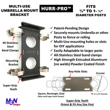 "Load image into Gallery viewer, HURR-PRO Non-Slip Umbrella Mounting Bracket, Stainless Band Clamps ¾"" to 1-¾"", Attach to Railing/Fence/Wall, DIY Friendly, Reusable, Patent Pending"