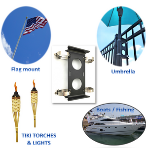 "HURR-PRO Non-Slip Umbrella Mounting Bracket, Stainless Band Clamps ¾"" to 1-¾"", Attach to Railing/Fence/Wall, DIY Friendly, Reusable, Patent Pending"