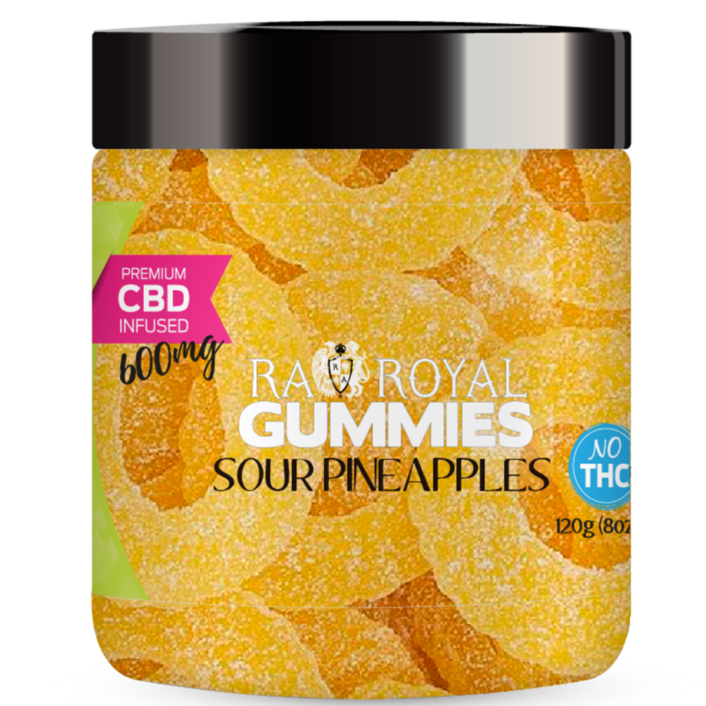 R.A. Royal Gummies – CBD Sour Pineapples (~20mg/gummy) (Isolate - No THC)