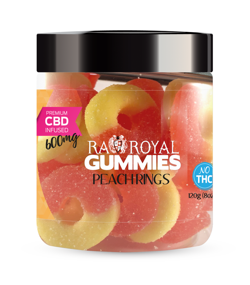 RA Royal CBD Peach Ring Gummies (~25mg/gummy) (Isolate - No THC)
