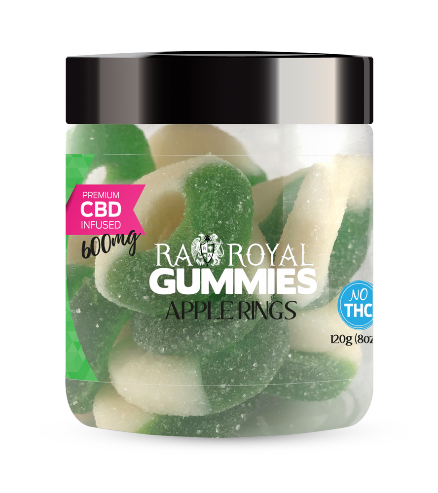 RA Royal CBD Apple Ring Gummies (~25mg/gummy) (Isolate - No THC)