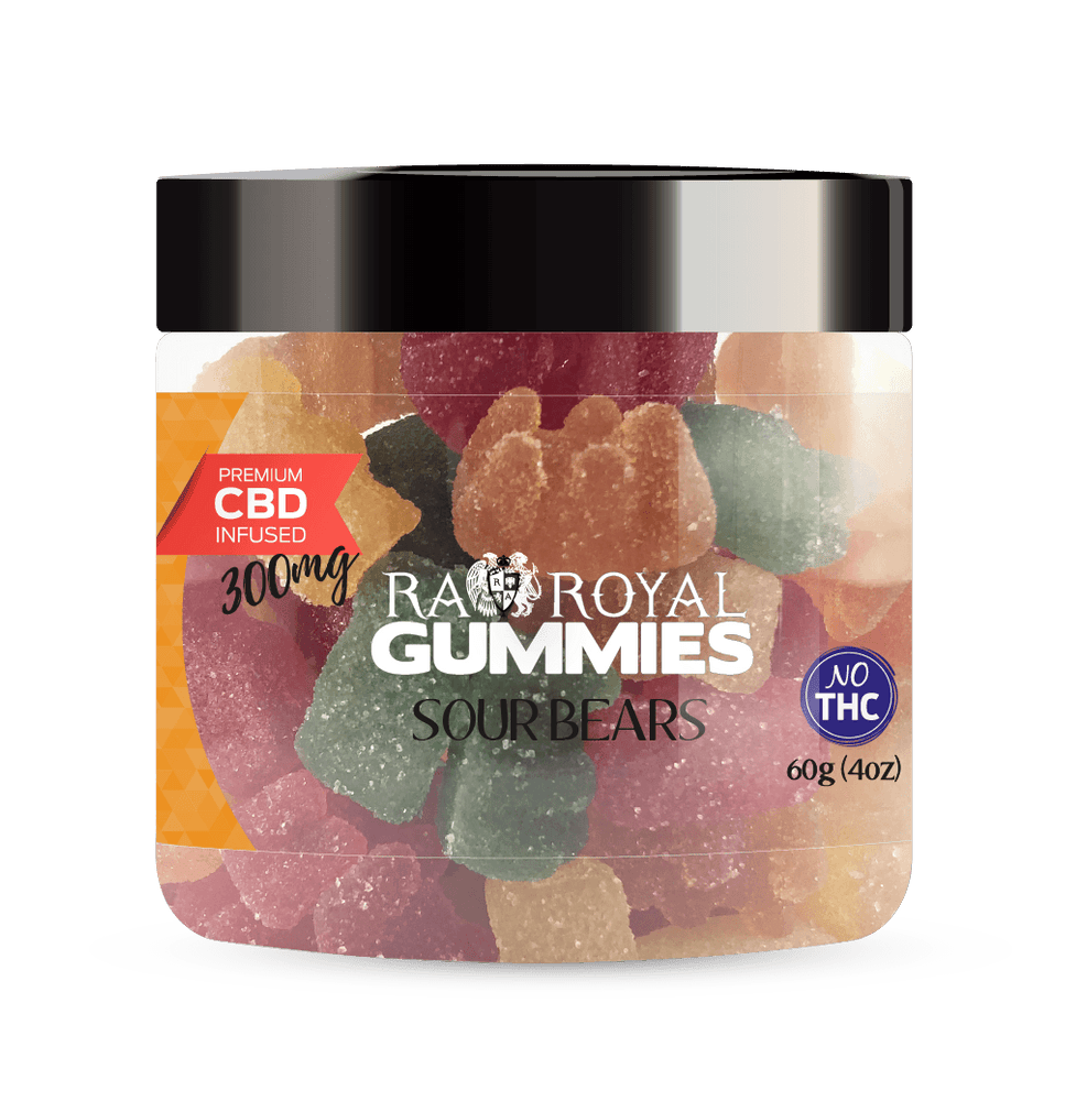 RA Royal CBD Sour Bears gummies for pain, stress, anxiety, insomnia - 300mg, 600mg