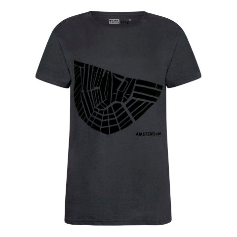 Dark Gray T-Shirt Amsterdam, flock print