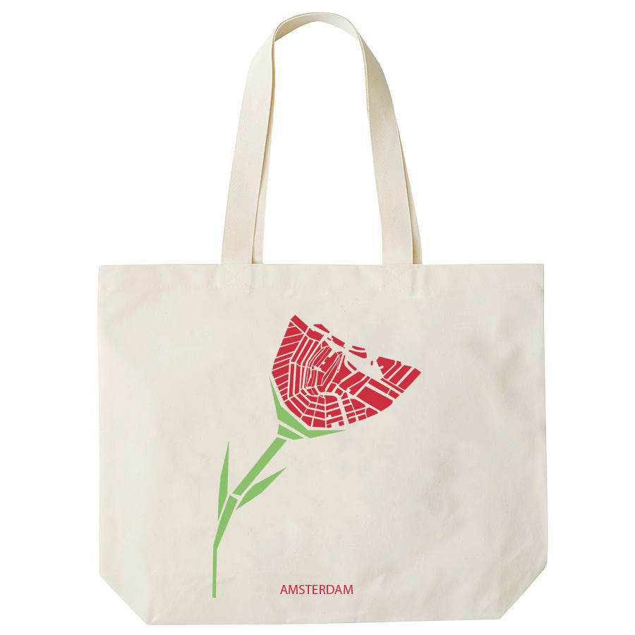 Organic White Cotton Shopper Tulip Amsterdam