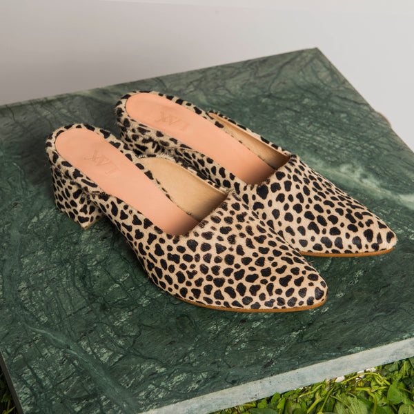 PENNY LANE LEOPARD printed pony slippers