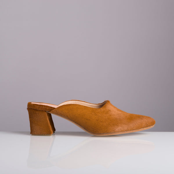 PENNY LANE CAMEL TANGERINE pony slippers