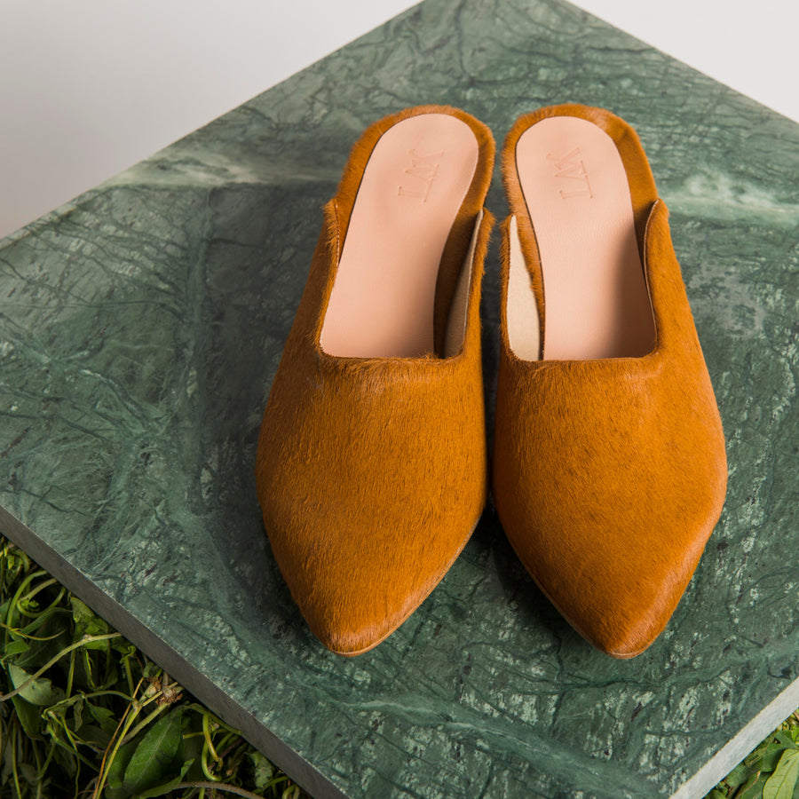 PENNY LANE CAMEL TANGERINE pony slippers - house-of-lax