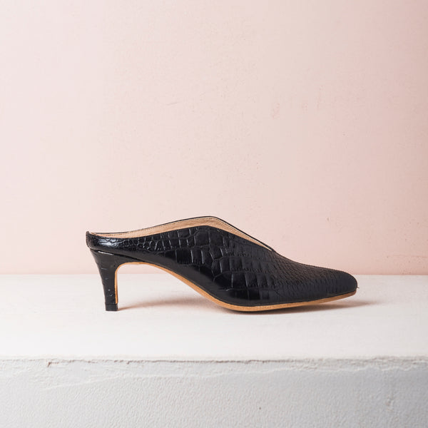 BILLIE MULES Black croc